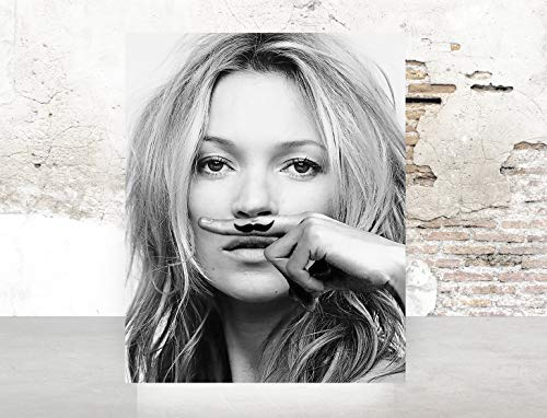 Fashion Glam Wall Black and White Kate Moss Supreme Poster Fashion Print on Fine Art Textured 1091 ()