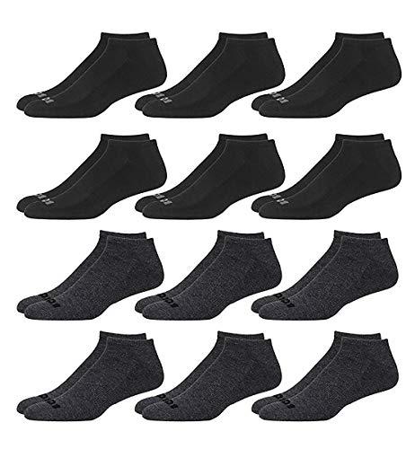 'AND1 Men\'s 12 Pack Athletic Low Cut Socks (Gray/Black, Shoe Size: 6-12.5)' (Mens Socks Black Low Cut)