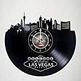 Fabulous Las Vegas City Vinyl Record Wall Clock - Get unique living room wall decor - Gift ideas for friends, teens, men and women, girls and boys - Casino Hotels Nevada Unique Art Design Gifts