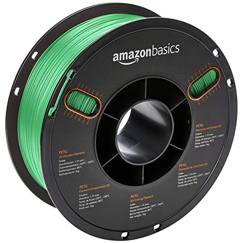 AmazonBasics PETG 3D Printer Filament, 1.75mm, Green, 1 kg Spool