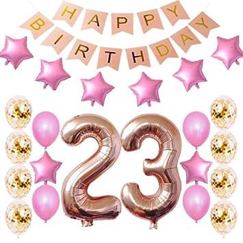 Amazon.com: 23 cumpleaños decoraciones fiesta suministros ...