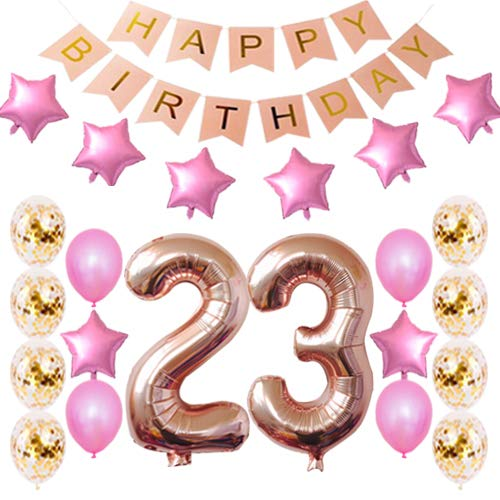 23rd Birthday Decorations Party Supplies Happy 23rd Birthday Confetti Balloons Banner and 23 Number Sets for 23 Years Old Party-Rose Gold]()