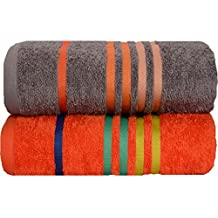 Casa Copenhagen Exotic Cotton Medium size (24 inches by 47 inches) 475 GSM 2 Pack Bath Towels Set - Grey