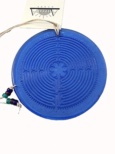 Labyrinth Suncatcher Cobalt Blue 100% Recycled Glass for sale  Delivered anywhere in USA