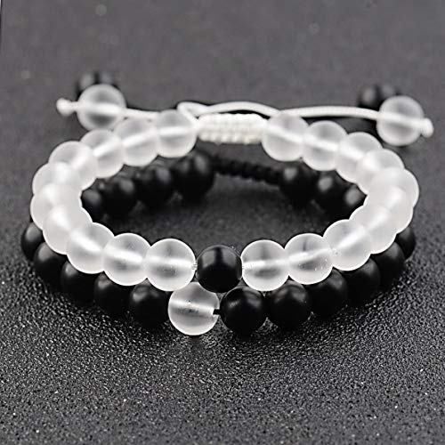 Hebel 2X Distance Bracelets Lovers Couples Matching Gift Matte Agate 8mm Bead Stone | Model BRCLT - 31493 | 23-Couples
