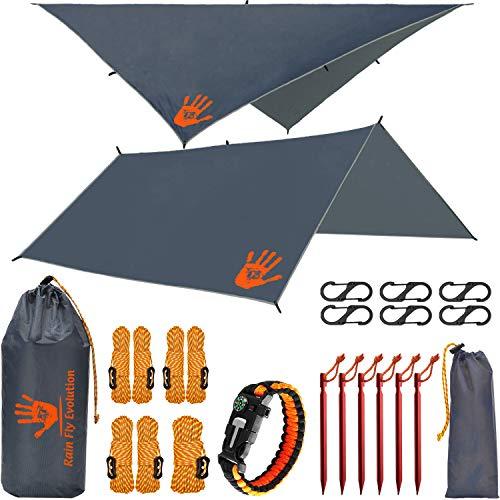 RainFlyEVOLUTION 10 x 10 ft Hammock Waterproof Gray RAIN Fly Tent TARP 170