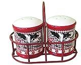 Revimport Ceramic Farm Animal Salt and Pepper Shakers in Metal Carrier
