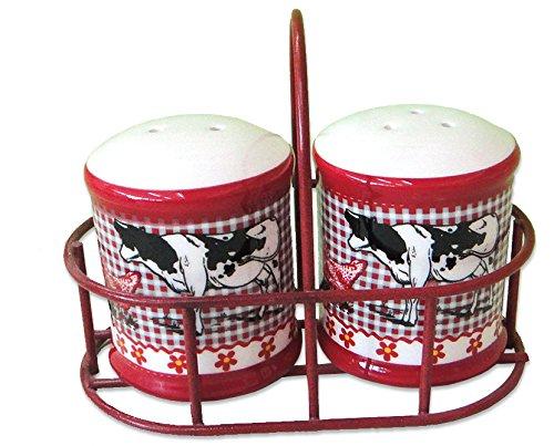 - Revimport Ceramic Farm Animal Salt and Pepper Shakers in Metal Carrier