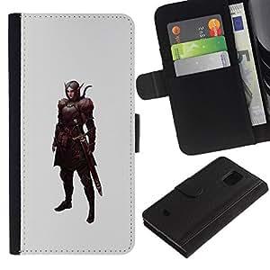 Billetera de Cuero Caso Titular de la tarjeta Carcasa Funda para Samsung Galaxy S5 Mini, SM-G800, NOT S5 REGULAR! / swordsman pc game elf warrior mystical / STRONG