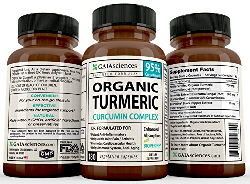 GAIA Sciences Turmeric Curcumin Bioperine 180ct 2100mg 95% Standardized Best Absorption Black Pepper Extract, Anti-Inflammatory, Joint Pain Relief, Immune System Liver Detox Booster, Organic Capsules Photo #4