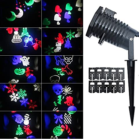 Halloween Rotating Projection Moving Snowflakes Spotlight Lamp,10PCS For Christmas,Garden,Wall, Birthday,Party, outdoor fairy decorations