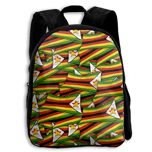 Zimbabwe Flag Wave Collage Kid Backpacks For Boys And Girls Preschool Backpack School Bag