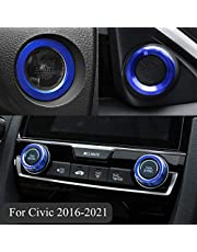TopDall Audio Speaker Engine Auto Press Start Ignition AC Climate Knob Ring Sticker Compatible for Honda Civic