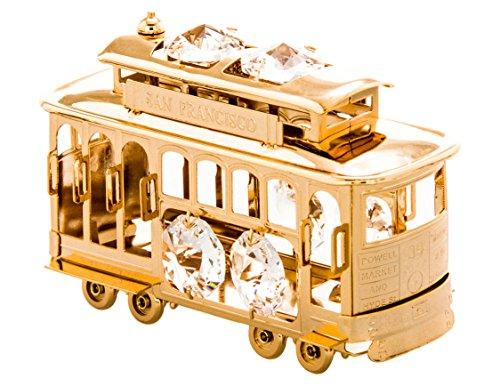 San Francisco Cable Car 24k Gold Plated Figurine with Swarovski - San Street Powell Francisco