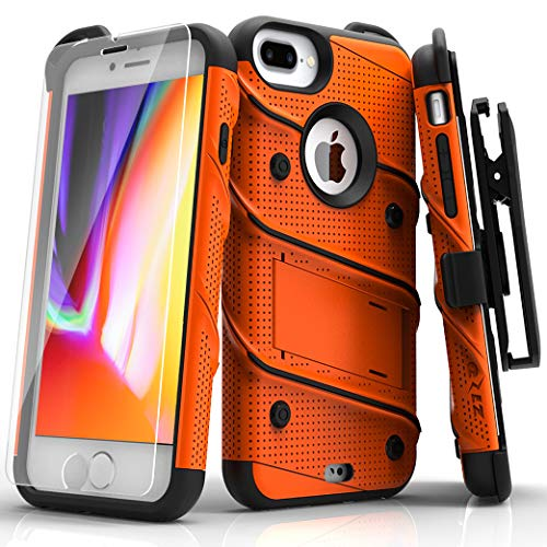 ZIZO Bolt Series iPhone 8 Plus Case Military Grade Drop Tested Tempered Glass Screen Protector Holster iPhone 7 Plus case Orange