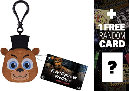 Freddy: Funko x Five Nights at Freddy's Mini-Head Plushy Keychain + 1 FREE Video Games Themed Trading Card Bundle (091484) -  BCC9480Q4