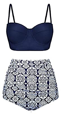 Beloved Women Vintage Swimsuits Bikinis Bathing Suits Retro Halter High Waisted Set