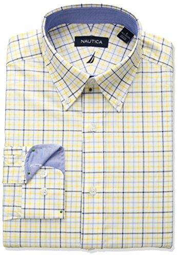 33 Wrinkle Free Dress Shirt - Nautica Men's Classic Fit Performance Tattersall Button Down Collar, Sea, Yellow, 16 32/33