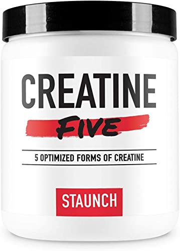 Staunch Creatine Five Creatine Powder Unflavored 50 Servings – Creatine Monohydrate, MagnaPower, Tri-Creatine Malate, Creatine Pyruvate, and Creatine Anhydrous