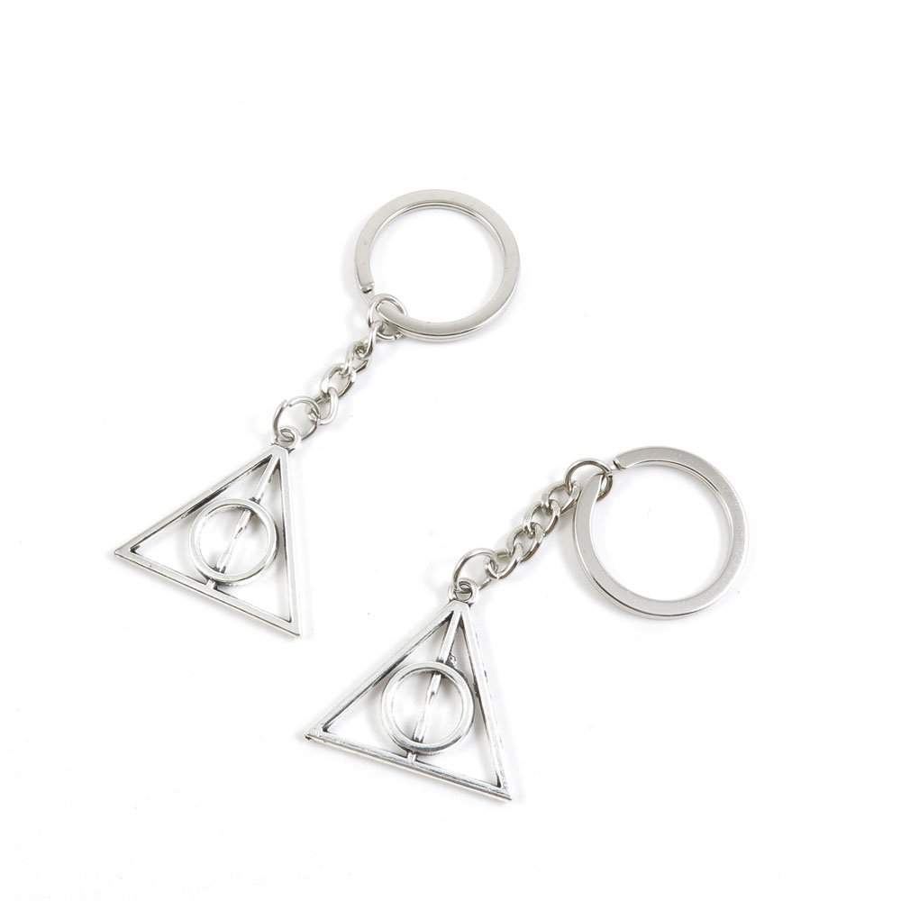 1 Pieces Keychain Door Car Key Chain Tags Keyring Ring Chain Keychain Supplies Antique Silver Tone Wholesale Bulk Lots K7KM3 the Deathly Hallows