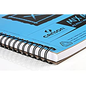 Canson XL Series Mix Media Paper Pad, Heavyweight, Fine Texture, Heavy Sizing for Wet and Dry Media, Side Wire Bound, 98 Pound, 9 x 12 Inch, 60 Sheets