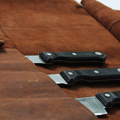 Large Handmade Leather Knife Roll   11 Pocket Knife Bag, Chef Knife Roll, Double Buckle Locking Knife Case   Kauri Design by Kauri (Image #7)