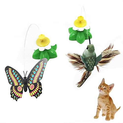 Price comparison product image SIMPLEST LIFE Pet Interactive Whirling Spinner Toys Electric Rotating Butterfly Bird Cat Toys-Pack of 2