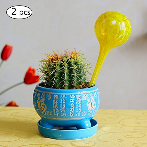 Calunce 2 PCS Newly Designed Set of 2 Hand Blown Colorful Self Watering Globes for Indoor or Outdoor Plants, Decorative ,Yellow 7cm20cm
