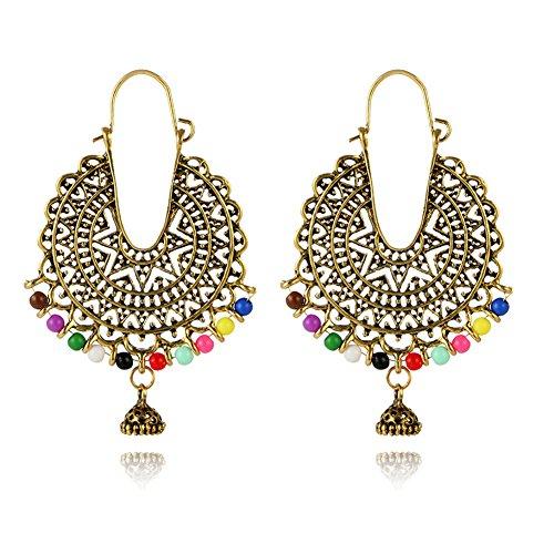 Indian Bollywood Beaded Hoop Earrings for Women - Gypsy Tribal Antique Chandelier Circle Earrings (Gold)