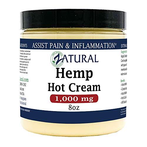 Hemp Hot Cream-Hemp Oil-Organic Hot Cream-Anti Cellulite-Muscle Cream-Pain Support 1,000mg