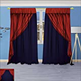 SeptSonne Rustic Home Decor Curtains, Theater curtain Presentation Movies,Living Room Bedroom Window Drapes 2 Panel Set, 84W x 84L Inch