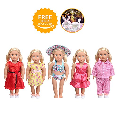 GOPOWD 18 Inch American Girl Doll Clothes Wardrobe Makeover - 5 Outfits with 1 pair Elegant Shoes for My Life Doll, Our Generation, Journey Girl Dolls - Dolls My Free Life For
