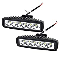"""Willpower 6"""" inch 18W LED Work Light Bar Spot Beam Driving Pods Work Lamp For Off-Road Suv Boat 4X4 Jeep JK 4Wd Truck 12V-24V 1800LM(18W-S)"""