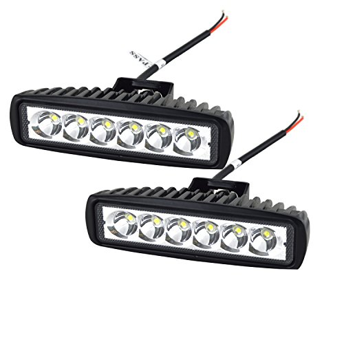 AUXTINGS 6 inch 18W Spot LED Work Light Bar Driving Lamp for Off Road 4WD 4x4 Jeep Cabin UTE SUV ATV Truck Car Boat,2 Piece