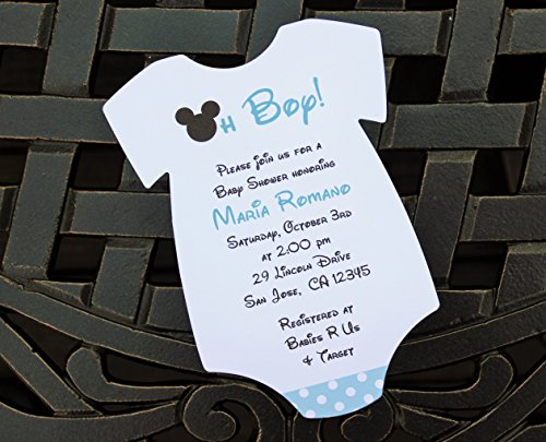 Set of 10 Blue Mickey Mouse Baby Shower Invitations - All Wording Customized - Boy Baby Shower