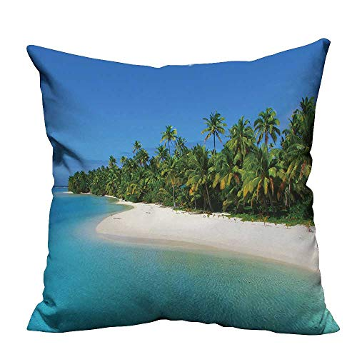fengruihome Home DecorCushion Covers Beautiful Beach in One Foot Island,Aitutaki,Cook Islands Perfect for Travel(Double-Sided Printing) 27.5x27.5 inch