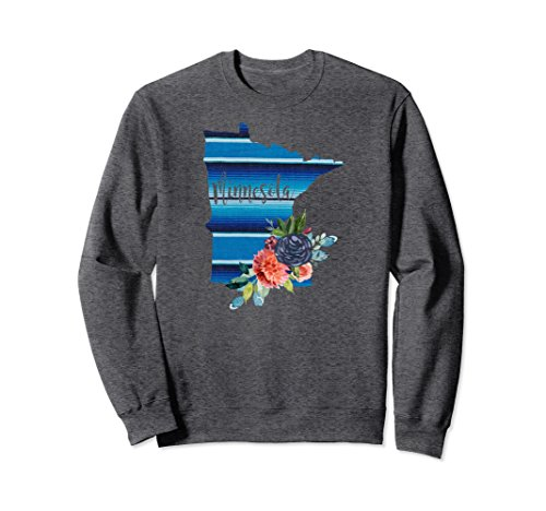 Unisex Minnesota Serape Blanket Watercolor Floral Sweatshirt Large Dark (Minnesota Classic Blanket)