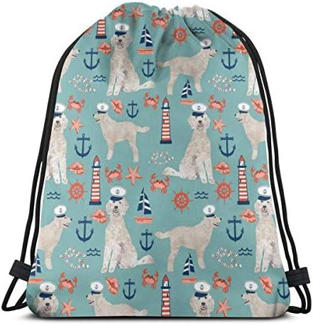 男の子と女の子の体育館バッグのためのキャピタンゴールデン落書き航海犬巾着袋36 x 43 cm