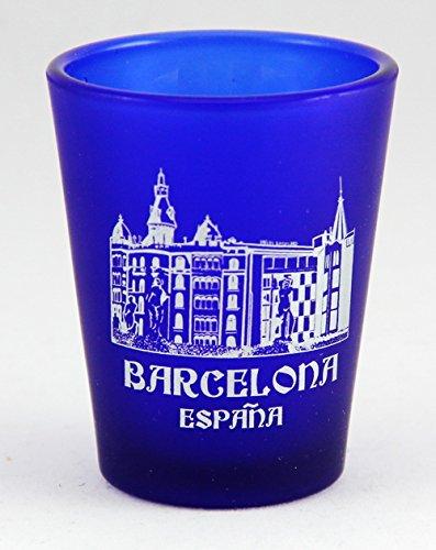 (Barcelona Spain Cobalt Blue Frosted Shot Glass)