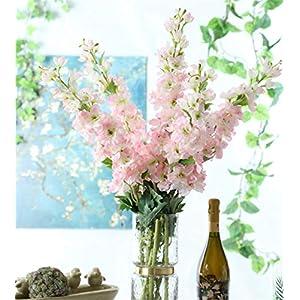 "Skyseen Set of 5 Stems 41"" Artificial Antirrhinum Snapdragon Silk Delphinium Flowers (Pink) 84"