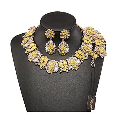 Holylove 6 Colors Crystal Vintage Statement Necklace Earring Bracelet Jewelry Set come with Gift Box