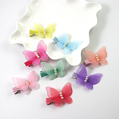 ShungFun Cute Glitter Pearl Butterfly Chiffon Hair Bow Clips Non-slip Hair Clips Hair Barrettes Hair Bows for Little Girls Baby Kids Keens Children Toddlers Women by ShungFun (Image #1)