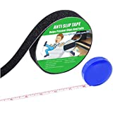 """Anti Slip Tape , High Traction,Strong Grip Abrasive , Not Easy Leaving Adhesive Residue , Indoor & Outdoor, with Measuring Tape (1"""" Width x 190"""" Long, Black)"""