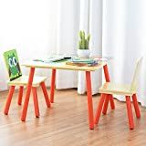 COSTWAY Cartoon Table & 2 Chairs Set for Nursery Kids Wood Multifunction Activity Furniture (Yellow)