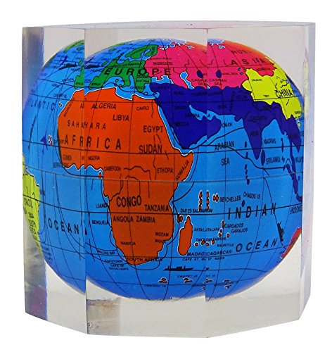 Acrylic Octagon World Globe Multicolour Paper Weight Home Office Table Decor - Octagon Paperweight