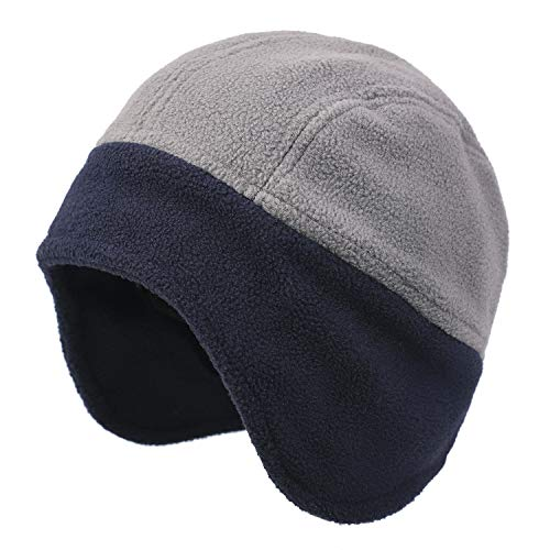 Flammi Men Fleece Earflap Hat Beanie Warm (Grey/Navy Blue)