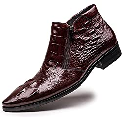 Zorgen Men's Casual Boots Genuine Leather Lace-up Embossing Leather Zipper Rubber Sole