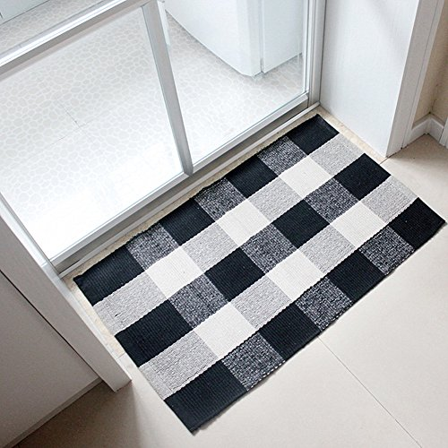 Ukeler 100% Cotton Plaid Rugs Black/White Hand-woven Checkered Door Mat Washable Rag Throw Rugs, 23.5''x35.4'', Black and White Plaid Rug by Ukeler
