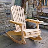 Trueshopping Adirondack Bowland Rocking Armchair for Garden or Patio in natural solid wood Comfortable curved backrest Perfect for Outdoor or Indoor use