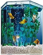 "Tetra Bubbling LED aquarium Kit 1 Gallon, Hexagon Shape, With Color-Changing Light Disc (29040-00), 7.5 x 7.5 x 7.7"""